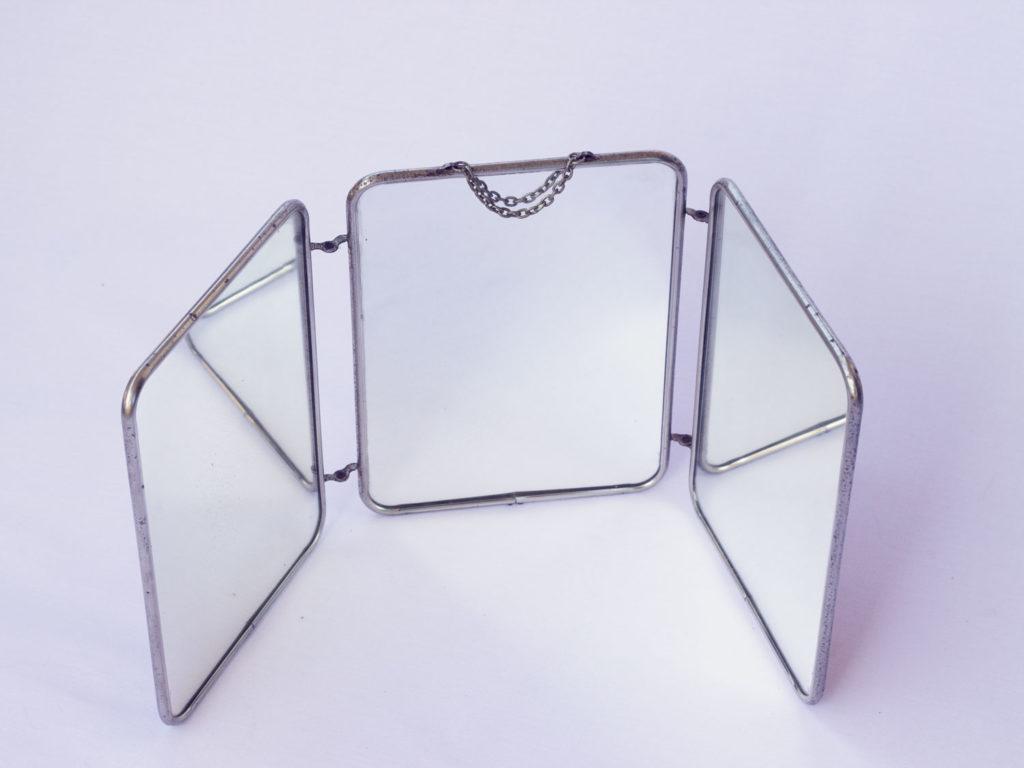 Miroir triptyque de barbier