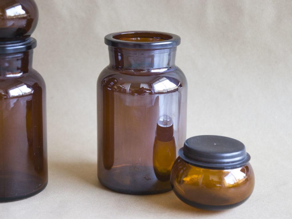 Paire de bocaux ambrés