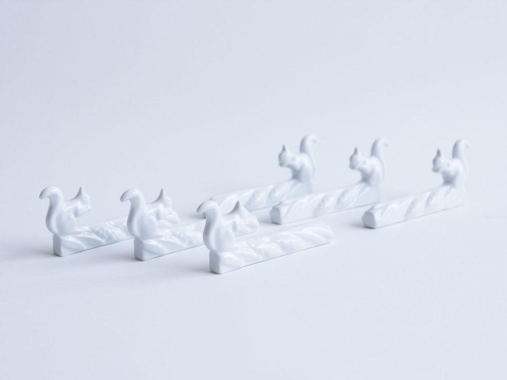 Lot de 6 porte-couteaux en porcelaine - les écureuils-