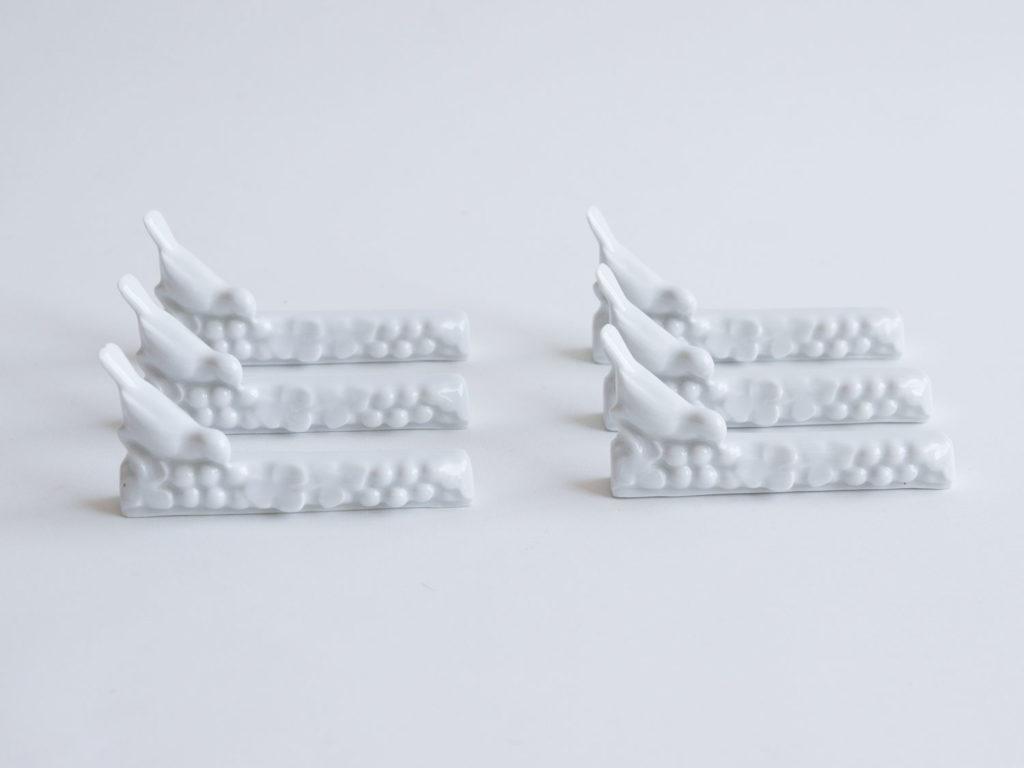 Lot de 6 porte-couteaux en porcelaine -les oiseaux-