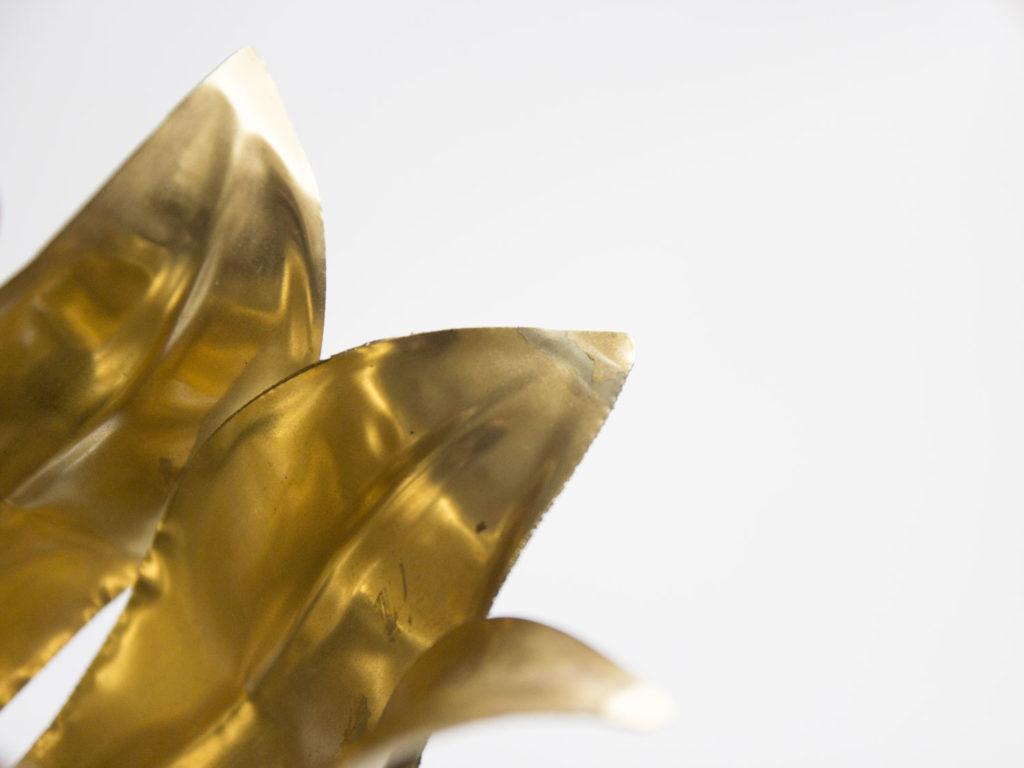 Lampe fleur en métal doré