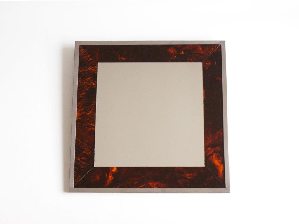 Miroir carré en métal chromé et Plexiglas