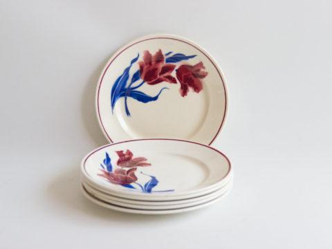 6 assiettes plates Badonviller modèle Tulipes