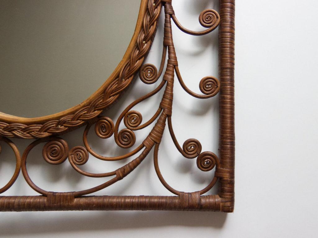 Miroir Peacock en rotin