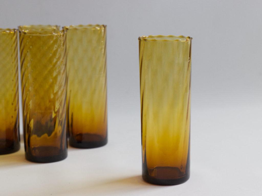 6 verres ambrés à orangeade