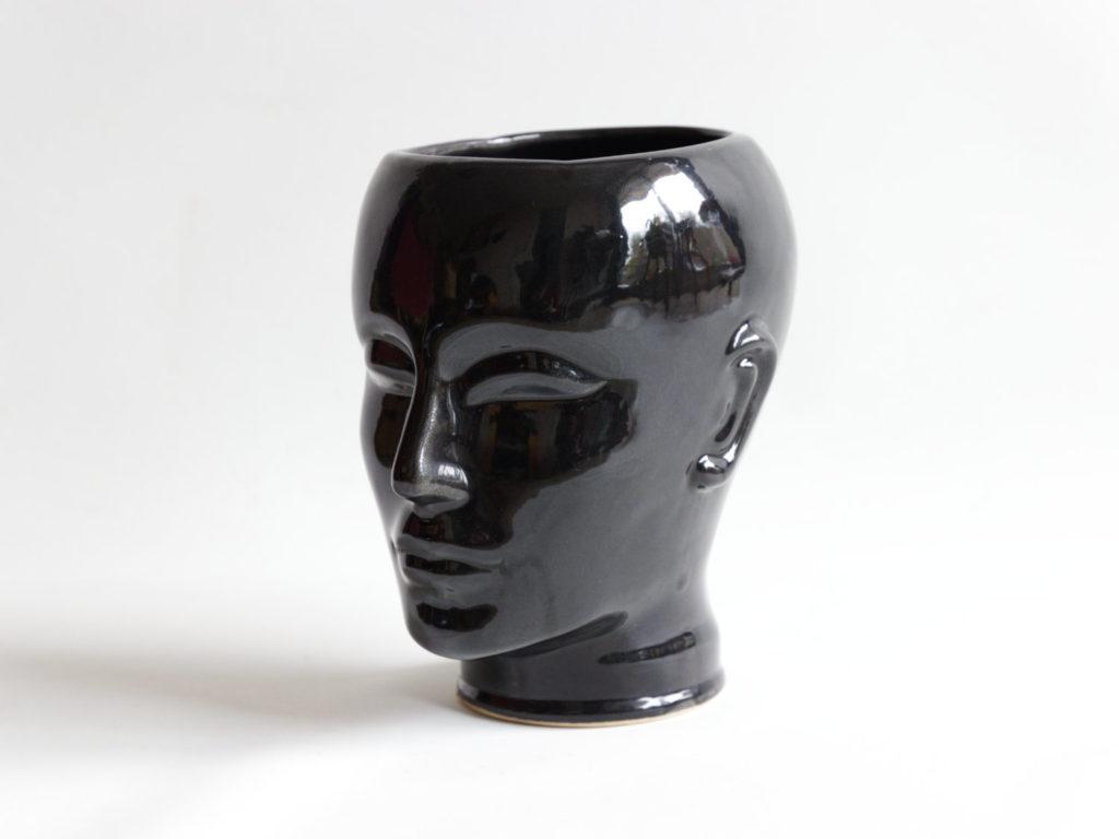 Cache-pot tête en céramique