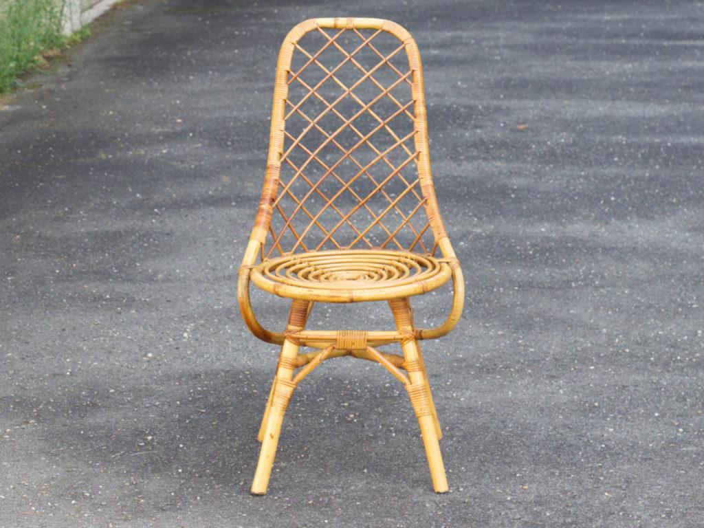 Chaise en rotin des années 50-60